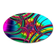 Abstract Neon Fractal Rainbows Magnet (oval) by StuffOrSomething