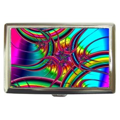 Abstract Neon Fractal Rainbows Cigarette Money Case by StuffOrSomething