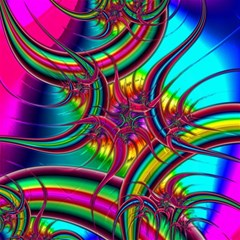 Abstract Neon Fractal Rainbows Canvas 20  X 20  (unframed) by StuffOrSomething