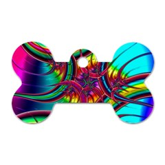 Abstract Neon Fractal Rainbows Dog Tag Bone (one Sided)