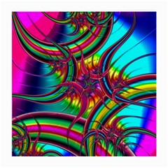 Abstract Neon Fractal Rainbows Glasses Cloth (Medium, Two Sided)