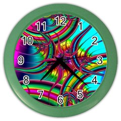 Abstract Neon Fractal Rainbows Wall Clock (color) by StuffOrSomething