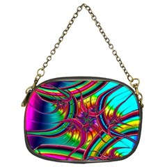 Abstract Neon Fractal Rainbows Chain Purse (two Sided)  by StuffOrSomething