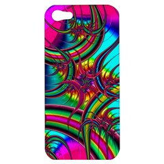 Abstract Neon Fractal Rainbows Apple Iphone 5 Hardshell Case by StuffOrSomething