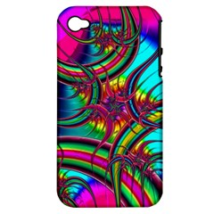 Abstract Neon Fractal Rainbows Apple Iphone 4/4s Hardshell Case (pc+silicone) by StuffOrSomething