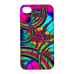 Abstract Neon Fractal Rainbows Apple Iphone 4/4s Hardshell Case With Stand by StuffOrSomething