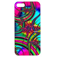 Abstract Neon Fractal Rainbows Apple Iphone 5 Hardshell Case With Stand by StuffOrSomething