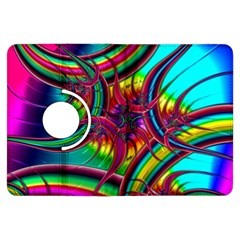 Abstract Neon Fractal Rainbows Kindle Fire HDX 7  Flip 360 Case by StuffOrSomething