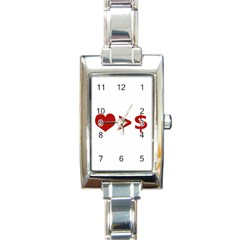 Love Is More Than Money Rectangular Italian Charm Watch by dflcprints