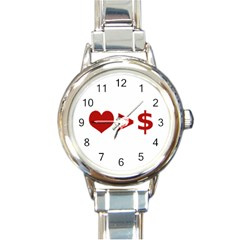 Love Is More Than Money Round Italian Charm Watch by dflcprints