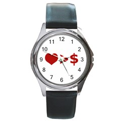 Love Is More Than Money Round Leather Watch (silver Rim) by dflcprints