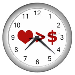 Love Is More Than Money Wall Clock (silver) by dflcprints