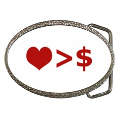 Love Is More Than Money Belt Buckle (oval) by dflcprints