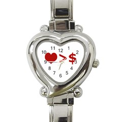 Love Is More Than Money Heart Italian Charm Watch  by dflcprints