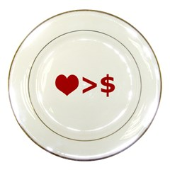 Love Is More Than Money Porcelain Display Plate by dflcprints