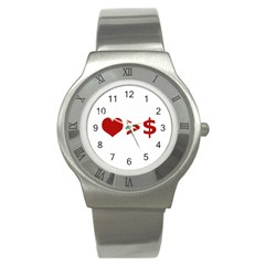 Love Is More Than Money Stainless Steel Watch (slim) by dflcprints