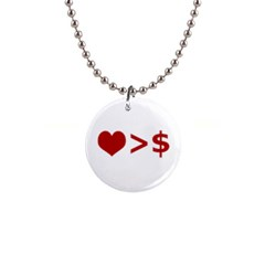Love Is More Than Money Button Necklace by dflcprints