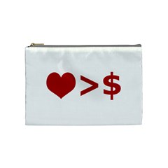 Love Is More Than Money Cosmetic Bag (medium) by dflcprints