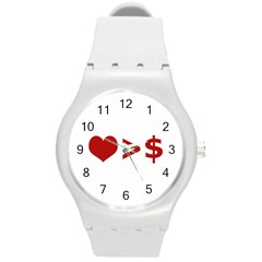Love Is More Than Money Plastic Sport Watch (medium) by dflcprints
