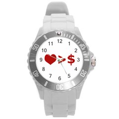Love Is More Than Money Plastic Sport Watch (large) by dflcprints