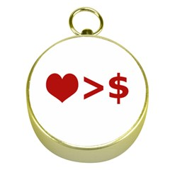 Love Is More Than Money Gold Compass by dflcprints