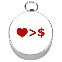 Love Is More Than Money Silver Compass by dflcprints