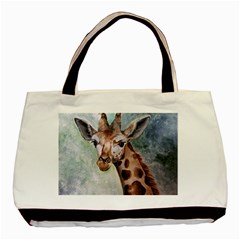 Giraffe Twin Sided Black Tote Bag by ArtByThree