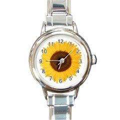 Sunflower Round Italian Charm Watch by sdunleveyartwork