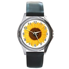 Sunflower Round Leather Watch (silver Rim) by sdunleveyartwork