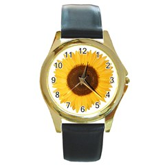 Sunflower Round Leather Watch (gold Rim)  by sdunleveyartwork