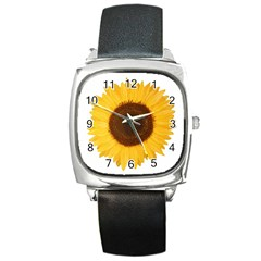 Sunflower Square Leather Watch by sdunleveyartwork