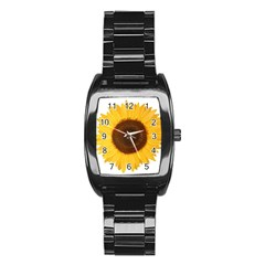 Sunflower Stainless Steel Barrel Watch by sdunleveyartwork