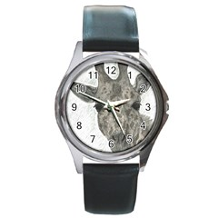 Giraffe Round Leather Watch (silver Rim) by sdunleveyartwork