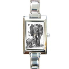 Elephant Rectangular Italian Charm Watch by sdunleveyartwork