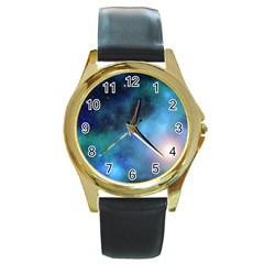 Amazing Universe Round Leather Watch (gold Rim)  by StuffOrSomething