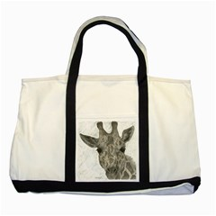 Giraffe Two Toned Tote Bag by sdunleveyartwork