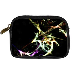 Futuristic Abstract Dance Shapes Artwork Digital Camera Leather Case by dflcprints