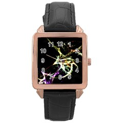 Futuristic Abstract Dance Shapes Artwork Rose Gold Leather Watch  by dflcprints