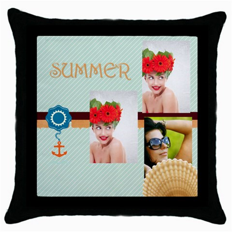 Summer By Summer Time    Throw Pillow Case (black)   Rp5se89mmq99   Www Artscow Com Front