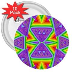 Trippy Rainbow Triangles 3  Button (10 Pack) by SaraThePixelPixie