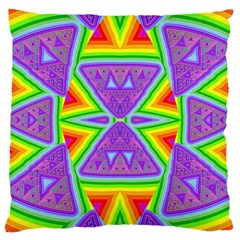 Trippy Rainbow Triangles Large Cushion Case (Two Sided)  by SaraThePixelPixie