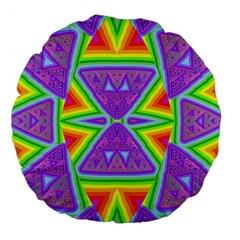 Trippy Rainbow Triangles 18  Premium Round Cushion  by SaraThePixelPixie