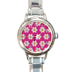 Daisies Round Italian Charm Watch by SkylineDesigns