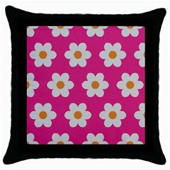 Daisies Black Throw Pillow Case by SkylineDesigns