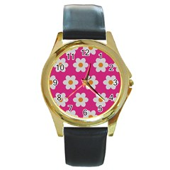 Daisies Round Leather Watch (gold Rim)  by SkylineDesigns