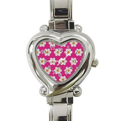 Daisies Heart Italian Charm Watch  by SkylineDesigns