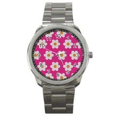 Daisies Sport Metal Watch by SkylineDesigns