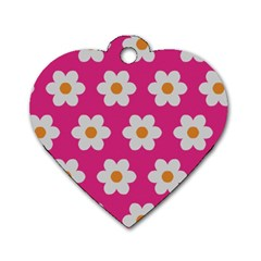 Daisies Dog Tag Heart (one Sided)  by SkylineDesigns