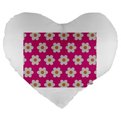 Daisies 19  Premium Heart Shape Cushion by SkylineDesigns