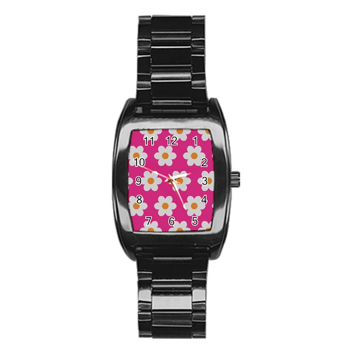 Daisies Stainless Steel Barrel Watch